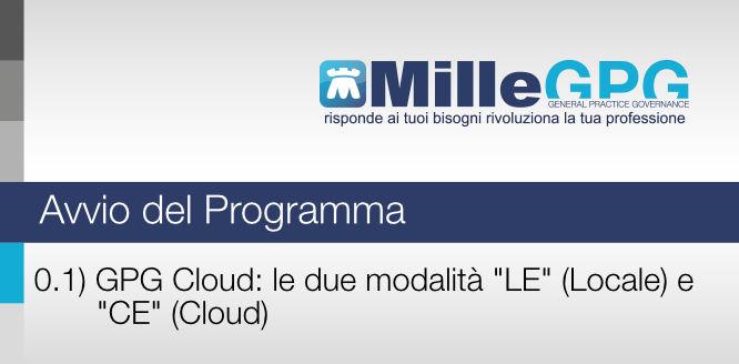 """MilleGPG Cloud: le due modalità """"LE"""" (locale) e """"CE"""" (Cloud)"""